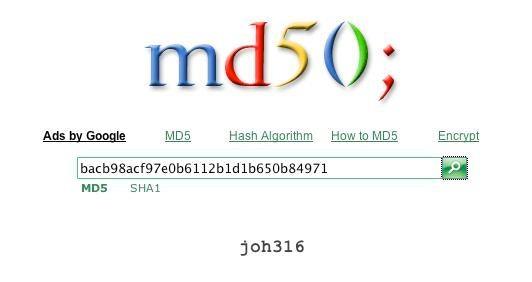 Web-Dienste wie md5.rednoize.com ermöglichen es, einen md5-Hash-Wert in ein Klartextpasswort zurückzuwandeln.
