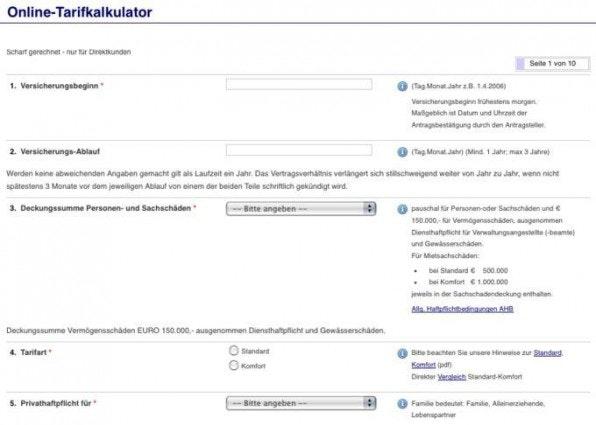 """Die Karlsruher Medienversicherung hat ihren Schritt-für-Schritt-Tarif-Kalkulator mit der """"pbsurvey""""-Extension realisiert."""
