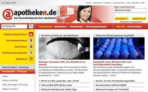 Die Startseite von apotheken.de rückt die umfangreiche Suche und den redaktionellen Content in den Mittelpunkt.