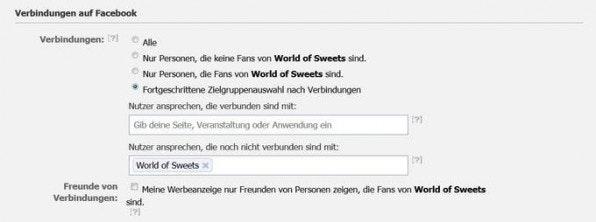 """Unter """"Verbindungen auf Facebook"""" entscheiden Werbetreibende, ob sie bestimmte Nutzer von der Schaltung einer Anzeige ausschließen möchten."""