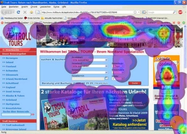 """Per Eye-Tracking wird die Blickrichtung von Website-Besuchern aufgezeigt und in """"Heatmaps"""" dargestellt. Am höchsten ist die Verweildauer bei den Menüs und Buttons."""