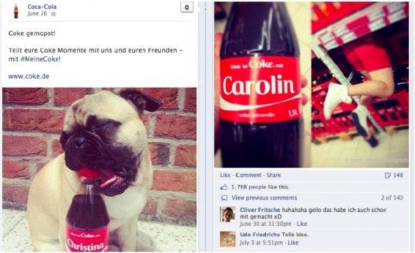 Love Brands wie Coca Cola müssen nicht nur selbst für tolle Bilder sorgen, auch die Nutzer sorgen mit Freude für Bildmaterial.