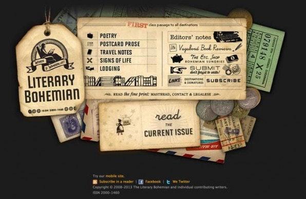 """Das Magazin """"Literary Bohemian"""" spielt mit einer expressiven Schriftkombination und versprüht so Reklame-Charme."""