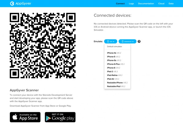 Der 'Steroids Connect Screen' ist das zentrale Tool für App-Management und Debugging. Der QR-Code lädt eine App herunter, mit der das Testen auf den Endgeräten möglich wird.
