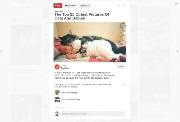 Die Bild-Plattform Pinterest war eine der ersten Websites, die das Card Design bekannt machte. Seitdem gibt es viele Nachahmer, doch nicht alle setzen den Designtyp so konsequent um wie Pinterest. Alles, auch die weiterführenden Informationen, bekommen Nutzer hier per Cards. (Screenshot: t3n)