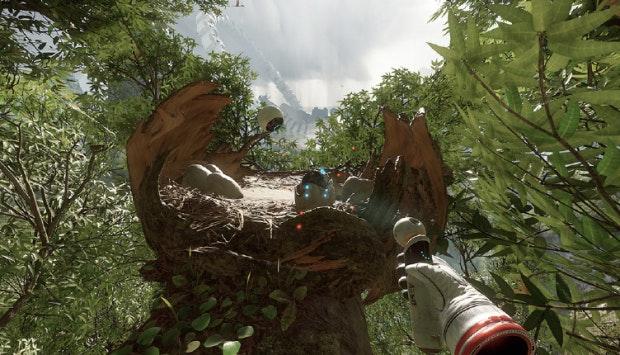 """Bei """"Robinson: The Journey"""" durchstreift der Spieler einen unbekannten Planeten mit vielen Gefahren und jeder Menge Dinosauriern. Crytek setzt bei dem Titel in Sachen Bewegung nicht auf Teleportation, sondern eher auf langsame Bewegungen ohne unnatürliche Beschleunigungen. (Screenshot: Crytek)"""