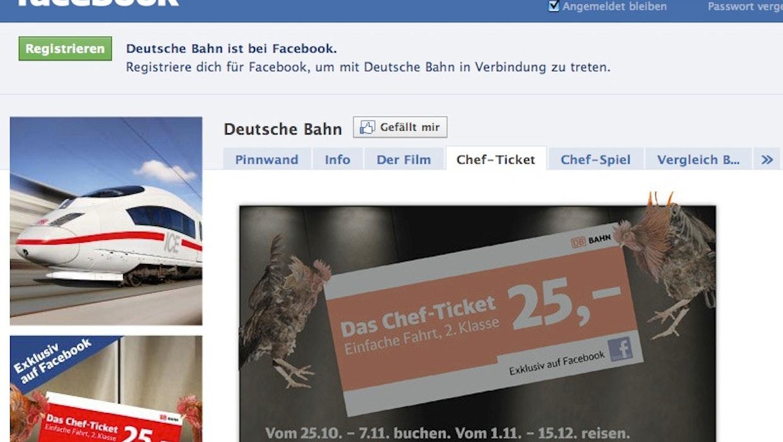 "Social Media: Heftige Kritik an Facebook-Aktion ""Chefticket"" der Deutschen Bahn"