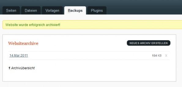 GetSimple: Backups können manuell oder per Cronjob erfolgen