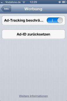 Dark Patterns dienen der geziehlten Verunsicherung des Nutzers. Ad-Tracking deaktiviert man auf dem iPhone durch Aktivieren des Schiebereglers.