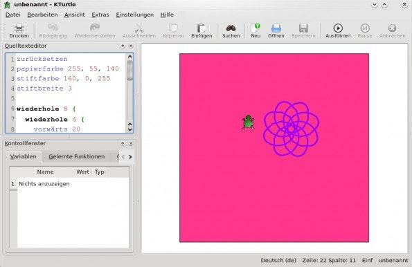 KTurtle: Mit dem Tool können Kinder leicht in die Welt der Programmierung eintauchen. (Screenshot: KTurtle / Wikipedia)