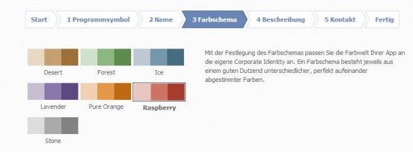 Die Auswahl an Farbschemata ist relativ klein. (Screenshot: chayns)