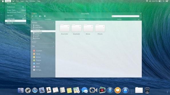 OS X: Konzept eines Mavericks-Nachfolger mit viel Transparenz. (Bild: )
