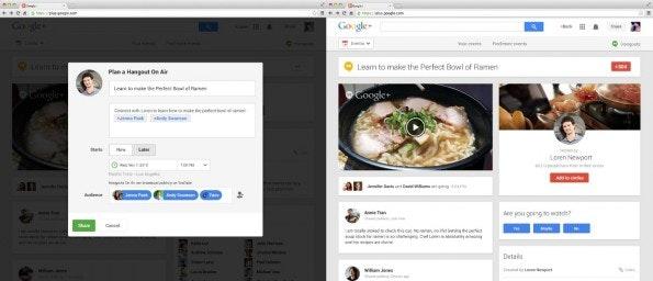 Hangouts on Air können nun besser angekündigt, geteilt und kommentiert werden dank einer zugehörigen Google+-Seite. (Quelle: googleblog.blogspot.com)