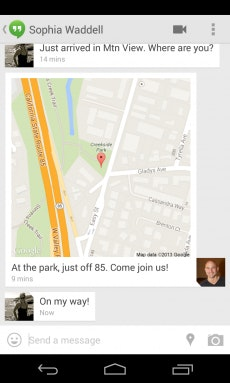 Über Google Hangouts können Android-Nutzer zukünftig ihren Standort mitteilen. (Quelle: googleblog.blogspot.com)