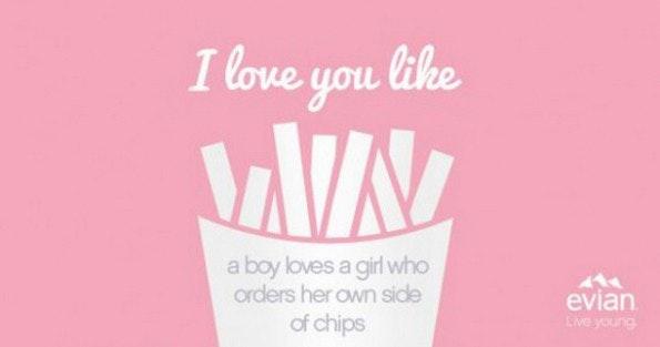 "Social-Media-Kampagne von Evian zum Valentinstag: ""I Love You Like"". (Grafik: Evian)"