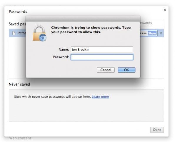 Chromium fragt Mac-Nutzer nun erneut nach dem Systempasswort, bevor Chrome-Passwörter im Klartext angezeigt werden. (Quelle: arstechnica.com/)