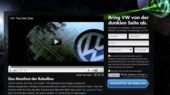 Greenpeace-Petition nutzt Gamification. (Screenshot: Greenpeace)