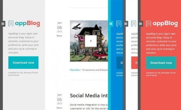 Das AppBlog-Theme ist eigenlich für App-Entwickler gedacht und üerbzeugt durch viele Farben und Konfigurationsmöglichkeiten. (Quelle: tumblr.com)