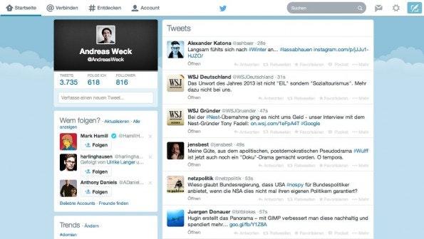 Der Twitter-Newsfeed im neuen Design: Prominenteres Augenmerk für die Profilbeschreibung. (Screenshot: Twitter)