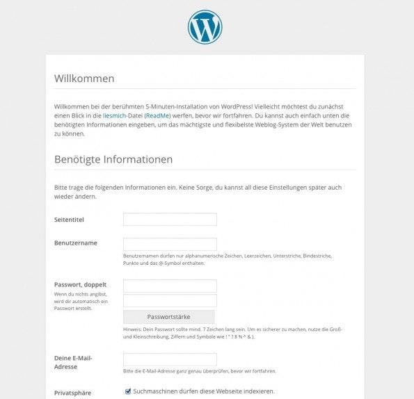 Konfigurationsseite der WordPress-Installation. (Screenshot: eigene WordPress-Installation)