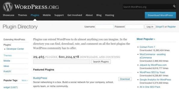 Gute Anlaufstelle für WordPress-Plugins: Das Plugin Directory von WordPress.org. (Screenshot: WordPress)