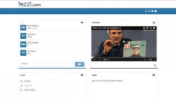 Tozzl: Auf der digitalen Pinnwand lassen sich neben einem Chat-Widget auch Texte, Listen, Videos und andere Inhalte ablegen. (Screenshot: Tozzl)