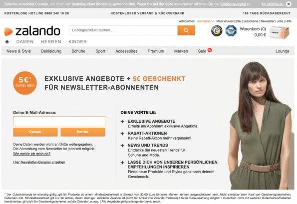 Bei Zalando erhalten Newsletter-Abonnenten einen Einkaufsgutschein. (Screenshot: Zalando)