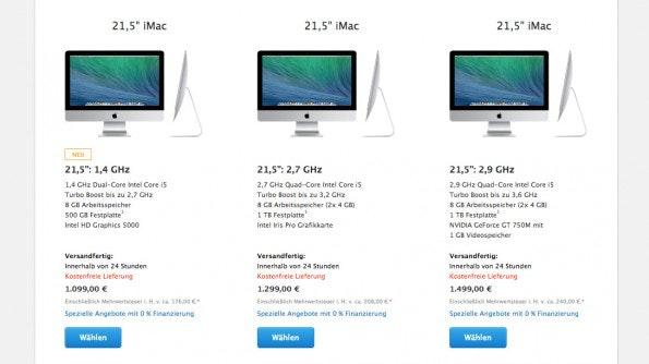 Apple iMac: Das günstige Einstiegsmodell richtet sich nicht anspruchsvolle Nutzer. (Screenshot: Apple-Store)