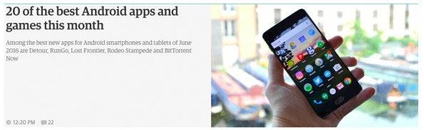 Auch the Guardian informiert seine Leser über kostenlose Android-Apps. (Screenshot: theguardian.com)