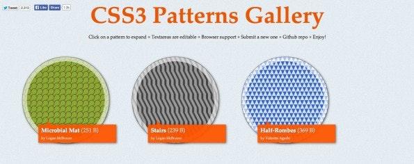 Wer interessante CSS3-Pattern sucht, könnte hier fündig werden. (Screenshot: CSS3 Pattern Gallery)
