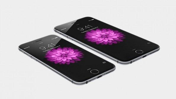 Die beiden neuen iPhones im Vergleich: iPhone 6 (vorne) und iPhone 6 Plus (hinten). (Quelle: Apple.com)