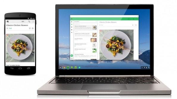 Evernote ist eine der ersten Android-Apps, die auch am Chromebook nutzbar ist. (Bild: Google)