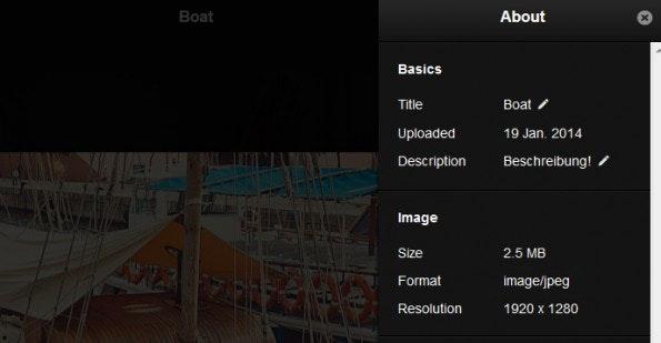 Genaurere Informationen zu den Fotos. (Screenshot: Lychee)
