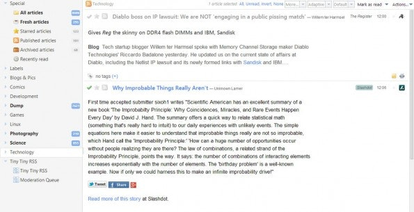 RSS-Reader: Tiny Tiny RSS ist die perfekte Option für alle Open-Source-Fans. (Screenshot: Tiny Tiny RSS)