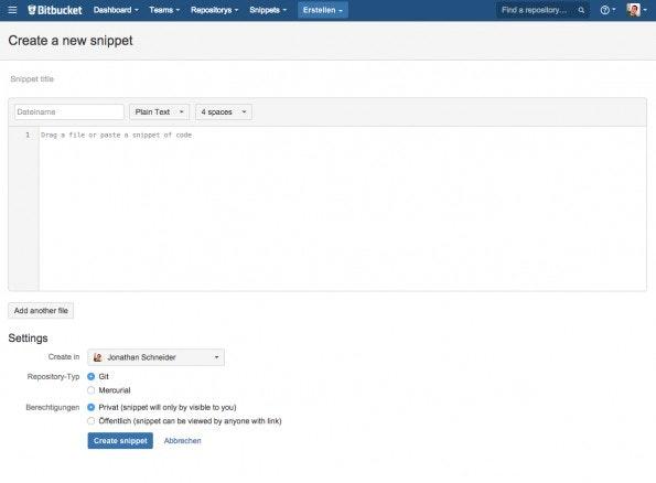 (Screenshot:  Bitbucket-Snippets)