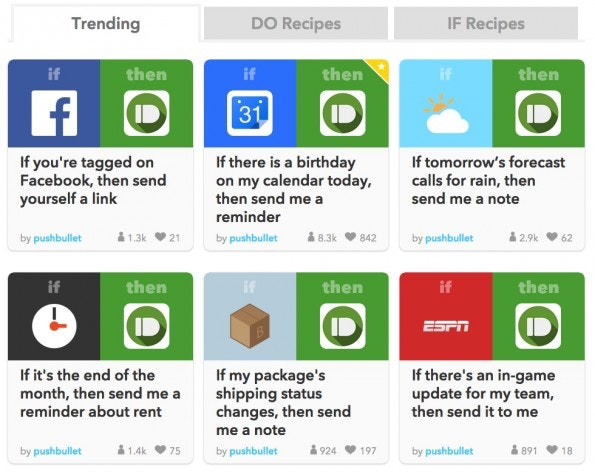 Weitere Rezepte auf IFTTT (Screenshot: ifttt.com)