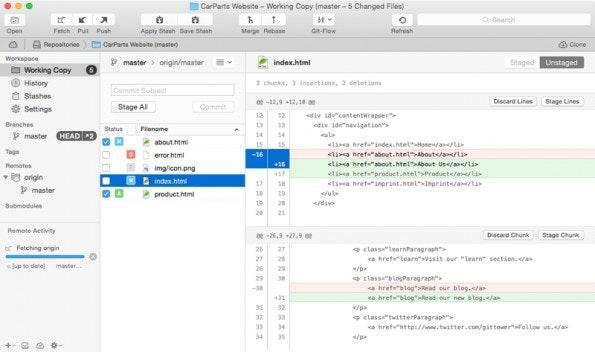 Git-GUI-Client Tower 2 (Screenshot: Tower 2)