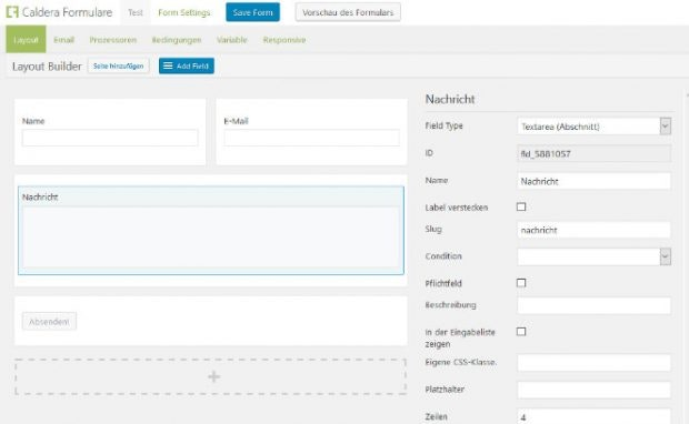 Caldera Forms ermöglicht auch die Anordnung von Elementen in mehreren Spalten. (Screenshot: eigene Installation)