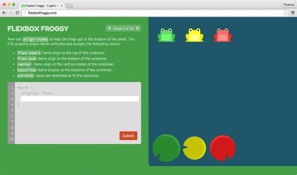 Flexbox Froggy ist ein spaßiges CSS-Lernspiel. (Screenshot: Flexbox Froggy)