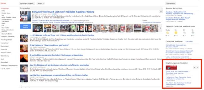 Google News Editors Pick