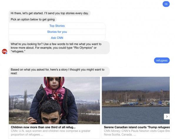 Der CNN-Bot im Messenger kuratiert Nachrichten anhand von Schlagworten. (Screenshot: t3n.de)