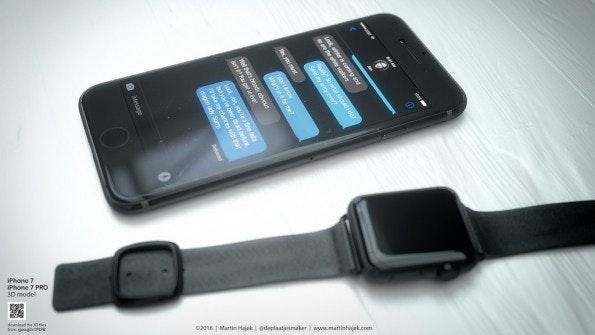 iPhone 7 in Schwarz mit farblich passender Apple Watch. (Bild: Martin Hajek)