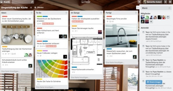 Visuelle Organisation am Beispiel von Trello. (Screenshot: Trello)