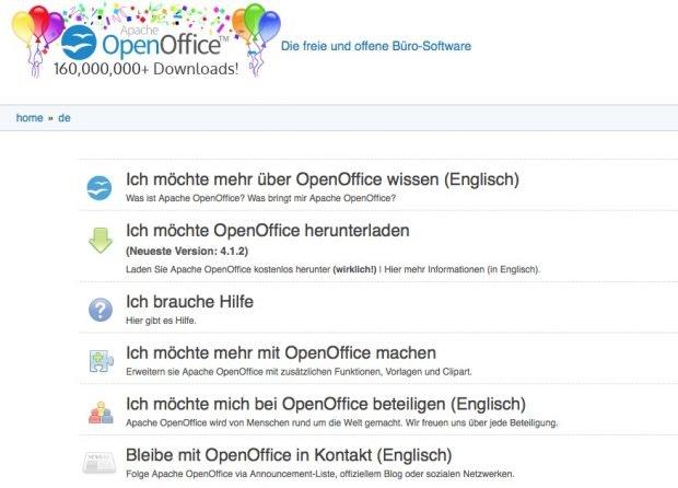 Luftballons und Konfetti für Openoffice – das war einmal. (Screenshot: Apache Openoffice)