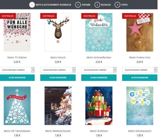 Weihnachtsgeschenke: Gutscheine, die in verschiedenen Shops einlösbar sind, sind beliebt. (Screenshot: wunschgutschein.de)
