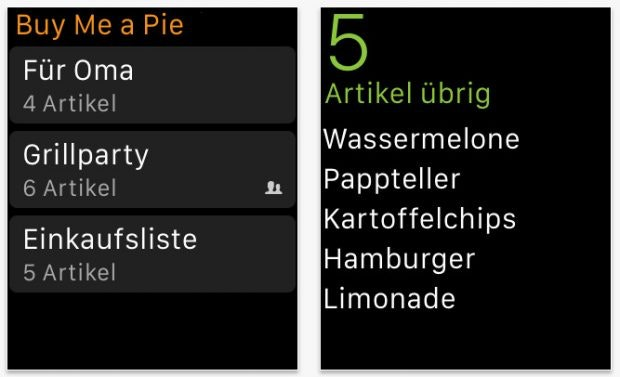 Practical app for the Apple Watch: a shopping list on your wrist.  (Screenshot: App Store)