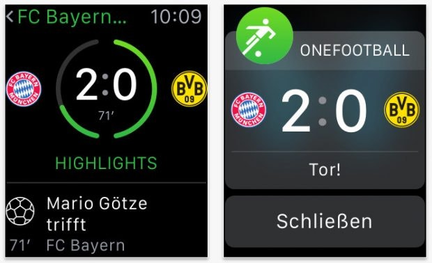 Onefootball: For the Bundesliga fans among Apple Watch owners.  (Screenshot: App Store)