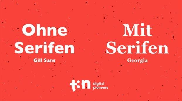 Mit vs ohne Serifen. Hier die beiden Schriftarten Gill Sans und Georgia. (Grafik: t3n.de)