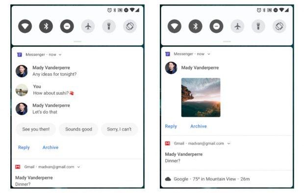Auf Nachrichten Antworten aus der Benachrichtigungsleiste wird unter Android 9 Pie vielseitiger. (Bild: Google)