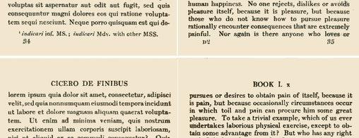 """Diese Ausgabe von Ciceros """"De finibus"""" zeigt den Seitenumbruch und die dadurch entstehende Trennung des Wortes """"dolorem"""". (Bild: Wikipedia/Harvard University Press)"""